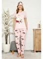 Akbeniz Kadın %100 Pamuk Penye Kısa Kol Pijama Takım 3329 Pembe